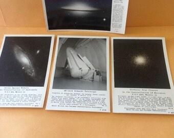 Set of 4 Vintage Frashers Glossy Photo Postcards-Space Themes-Spiral Nebula In Andromeda;Spiral Nebula Virgo;Star Cluster Hercules;Telescope