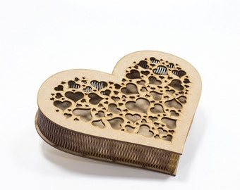 Heart-shaped unfinished wooden box 6x8 inch decoupage furniture supply with ornamental lid