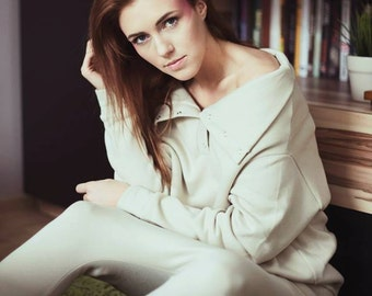 Organic cotton brown sweatshirt: S-L size women's casual style beige sweater