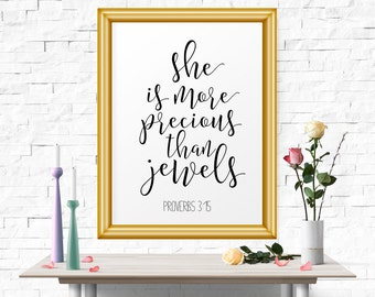 Printable Poster, She Is More Precious Than Jewels, Printable Art, Typography Art, Typography Print, Bible Verse, Typography Poster