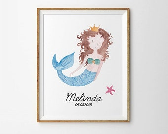 Custom name print, Mermaid nursery print, Personalized nursery art,  Personalized name, Baby print, Nursery wall decor, Baby decor