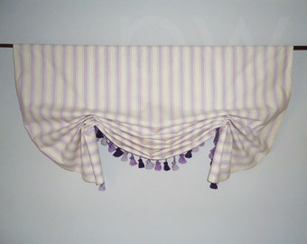 Lavender Purple Striped Window Valance Faux Shade