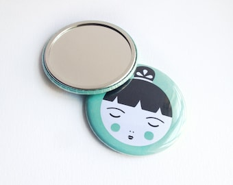 Doll Face Pocket Mirror, Mint Green Kokeshi Doll Design