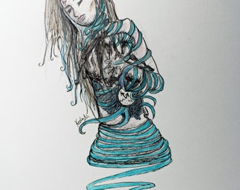 P.T.S.D. Unraveling Original art drawing
