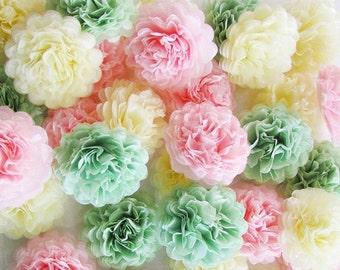 pompoms 60, party decoration, wedding, events, baby shower, paper pom pom, party, paper decoration, flower pompom