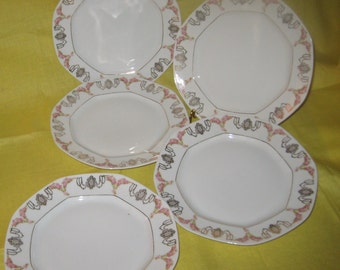 "Moritz Zdekauer MK Austria ""Bridal Garland?"" salad plates - set of 5 - Octagonal shape with pink roses and gold sway garland"