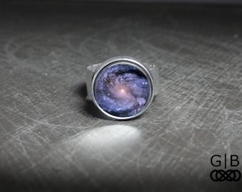 Purple Ring Spiral Galaxy Ring - Purple Ring With Adjustable Ring - Purple Galaxy Ring Jewelry - Purple Galaxy Jewelry Adjustable Ring