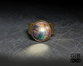 Cosmic Ring Nebula Adjustable Ring - Cosmic Stars Ring Cosmic Jewelry - Star Glass Cosmic Ring Glass Jewelry - Cosmic Nebula Glass Ring