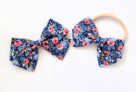 Rifle Paper & Co. / Les Fleurs / Rosa - Navy / Fabric Bow