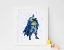 Batman Print, Watercolor Superhero batman decor batman wall art DC Comics Marvel Nursery Bedroom batman printables Giclee Art superhero gift
