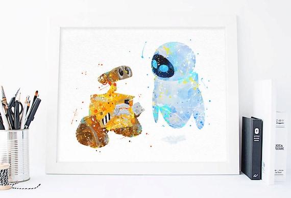 Disney Wall-E and EVE Watercolor Printable, Pixar poster, pixar art ...