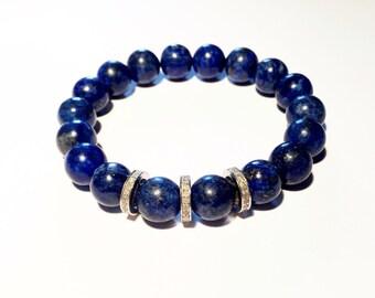 0,66 ct pave diamond and lapis lazuli gemstone bracelet