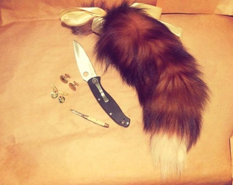 "Fox Tail Brown Reddish Fur 18"" Metal Butt Plug With Silicone Protector! BDSM, Kitten play, Kittengirls, Fetish wear, Anal Plug"