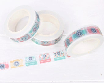 Colorful Camera Washi Tape. 15mm x 10m. Pastel Cameras. Pastel Washi Tape. Colorful Washi Tape. Photographer Packaging.