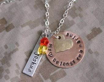 Marine Wife Marine Mom USMC Marine Necklace Marine Girlfriend My heart belongs to a Marine USMC Mom