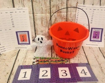 Halloween Bunco Party Accessory Kit for up to 12 people / 4 Tables.  #BuncoWeen (Basic Version)