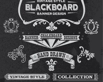 Instant Download Chalkboard Digital Flourish Border Frame Clip Art Scrapbooking Embellishment Frame Clipart Frame Decor Design Element 0119