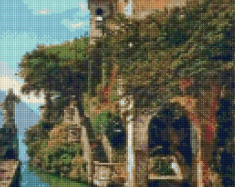 Lake Como Italy landscape Cross Stitch pattern PDF - Instant Download!