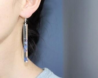 Real Flower Earrings  Сornflower petal cylinder  925 Sterling Silver earrings  Pressed Flower earrings  Bridal jewelry  Gifts for her