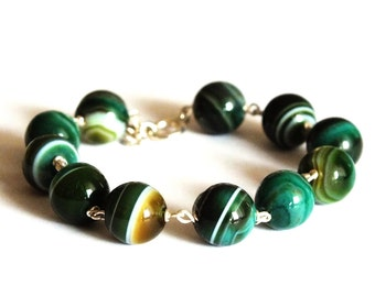 Green bracelet Sterling silver Green lace agate