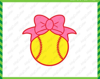 Softball With Bow Baseball Frame SVG DXF PNG eps Sports Cut Files for Cricut Design, Silhouette studio, Sure Cuts A Lot, Makes the cut