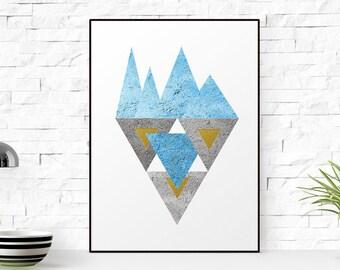 Triangles print, Blue grey gold Triangles print, Minimalist wall art, mdoern print,