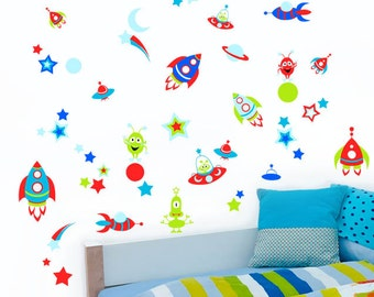 Aliens, Spaceships, Space, Moon, Rockets, Stars & Planets - Childrens Printed Wall Art Vinyl Stickers - Designed by Rubybloom Designs