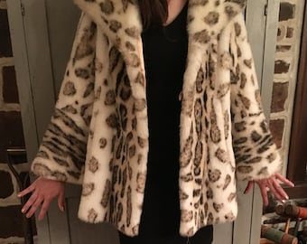 Vintage Snow Leopard Faux Fur Coat - Furrier Made