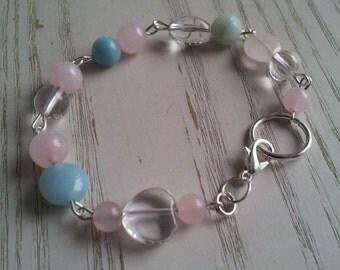 A Rose quartz, Rock crystal and Amazonite bracelet