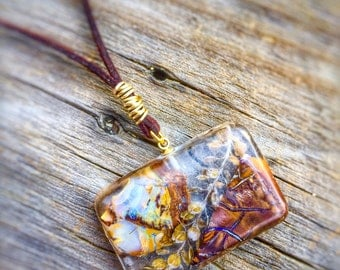 Unique Natural Raw Uncut Australian Opal and wild grass set in Resin Necklace