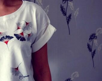 T-shirt waterfall flowers, jersey t-shirt, design t-shirt. art collection,illustration japan
