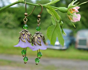 Peridot Earrings - Peridot Jewelry - Flower Earrings - Peridot Green - Purple Earrings - Green and Purple - August Birthday - August Gift.