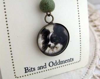 Papillon dog pendant necklace