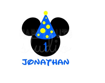 Personalized Birthday Boy / Mickey Mouse Ears Personalized with Age Number and Birthday Party Hat Disney Iron On Decal Vinyl for Shirt 130