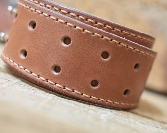 Leather cuff bracelet brown handcrafted, Genuine Leather Cuff Bracelet for Men