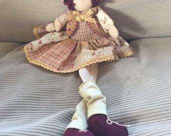 Handmade Cloth Doll - Burgundy Hair