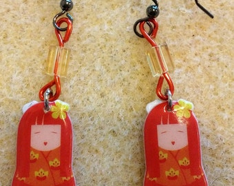 Beaded kokeshi (Japanese doll) earrings