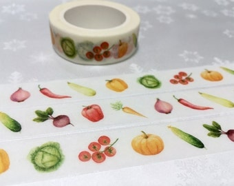 8M Vegetable washi masking tape pepper pumpkin Vegetarians food lite dinner sticker tape receipt cooking planner food party food diary
