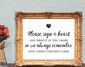 Wedding Guest Book Sign - please sign a heart and drop it in the frame - PRINTABLE wedding sign - 8x10 - 5x7