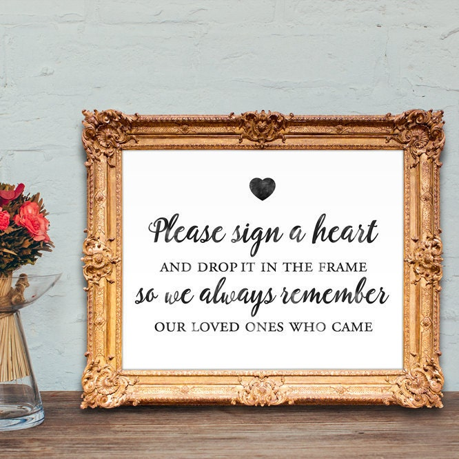 wedding guest book sign please sign a heart and drop it in
