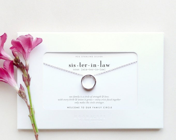 Sister In Law | Sister-in-Law Bride Wedding Gift | Welcome to Our Family Circle Sterling Silver Karma Ring Necklace Poem Quote Message Card