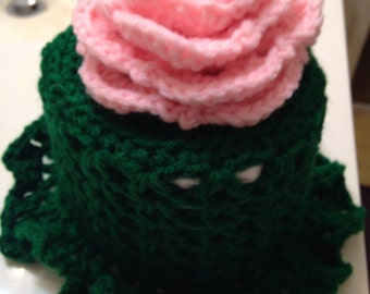 Pretty Hand-Crocheted Bath Tissue/Toilet Paper Cover/Topper with Ruffle