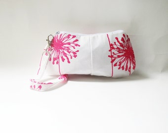 Pleated Pink Wristlet, Purse, Clutch. Wallet, Zippered Pouch, Handbag- Pink and White Dandelion