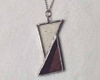 Ebony Wood and Glass Asymmetrical Pendant Necklace