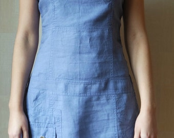 Light Blue Linen Dress , Linen Mini Dress, Sleeveless Dress, Size 36 EU