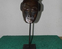 Hand Carved Wood Mask on Stand