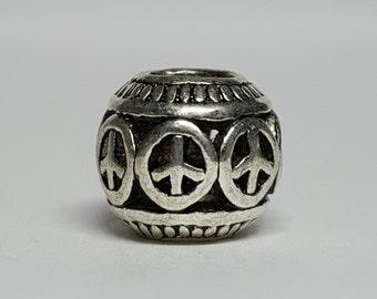 Silver Peace Sign Charm for European Bracelets (item 087)
