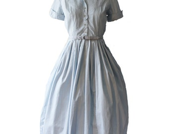 Vintage Kay Windsor Baby Blue Check Shirtwaist Day Dress With Belt 1950s
