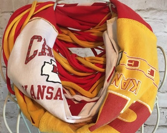 Kansas City Chiefs scarf; Upcycled t-shirt scarf; infinity scarf; team scarf