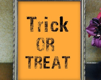Halloween Wall Decor, Trick Or Treat, Halloween Printable, Halloween Decoration, Halloween Party, Trick Or Treat Signs, Halloween Signs